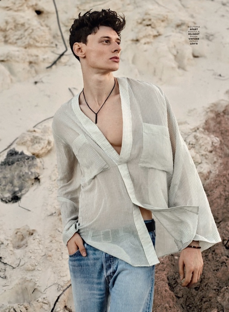 Poland's Next Top Model Winner Dawid Woskanian Hits the Beach for Glamour