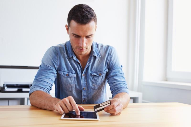 Denim Shirt Man Shopping Online Tablet Card