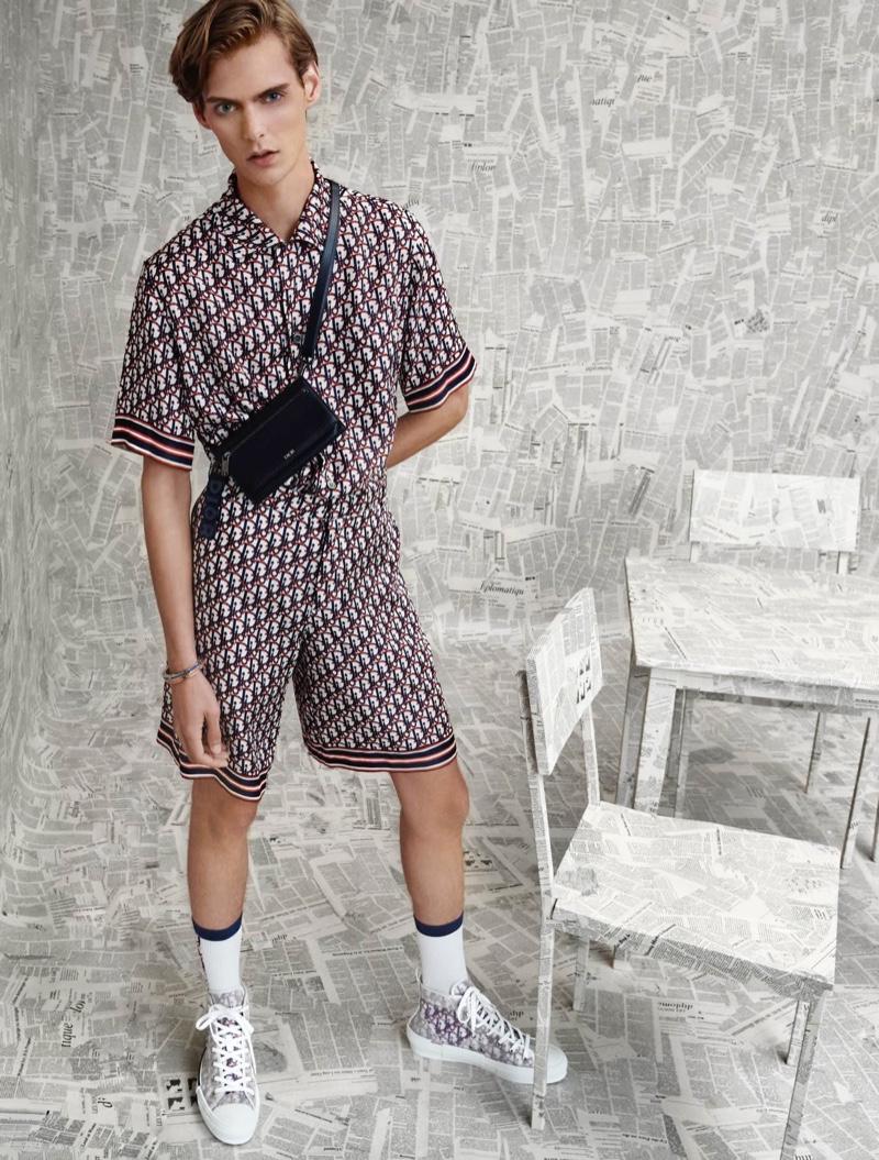 Mats Van Snippenberg rocks an all-over print from Dior Men's resort 2020 collection for Holt Renfrew.