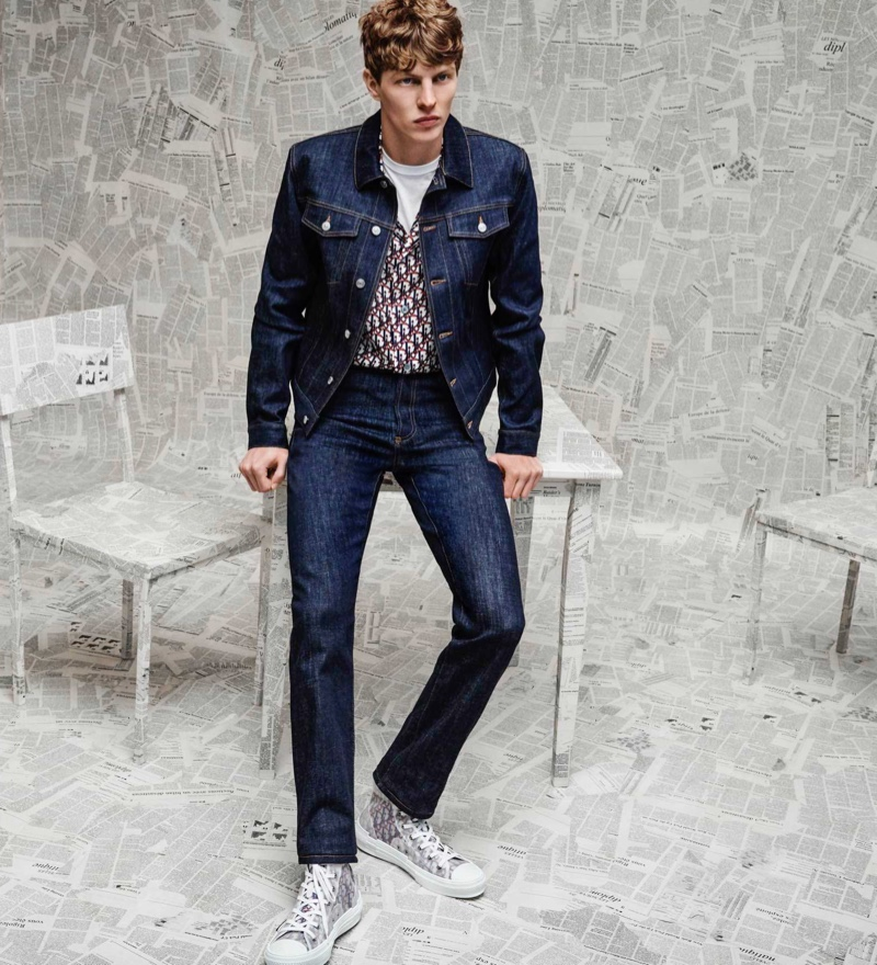 Making a case for denim, Tim Schuhmacher wears a Dior Men resort 2020 look for Holt Renfrew.