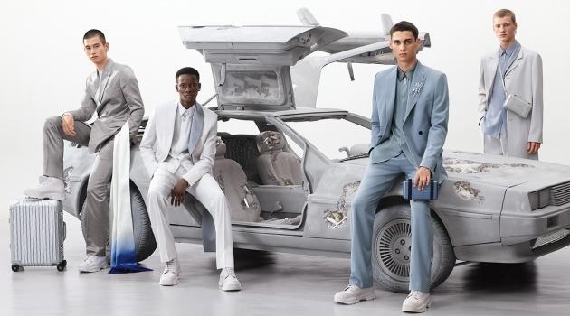 Models Kohei Takabatake, Serigne Lam, Ludwig Wilsdorff, and Braien Vaiksaar front Dior Men's spring-summer 2020 campaign.