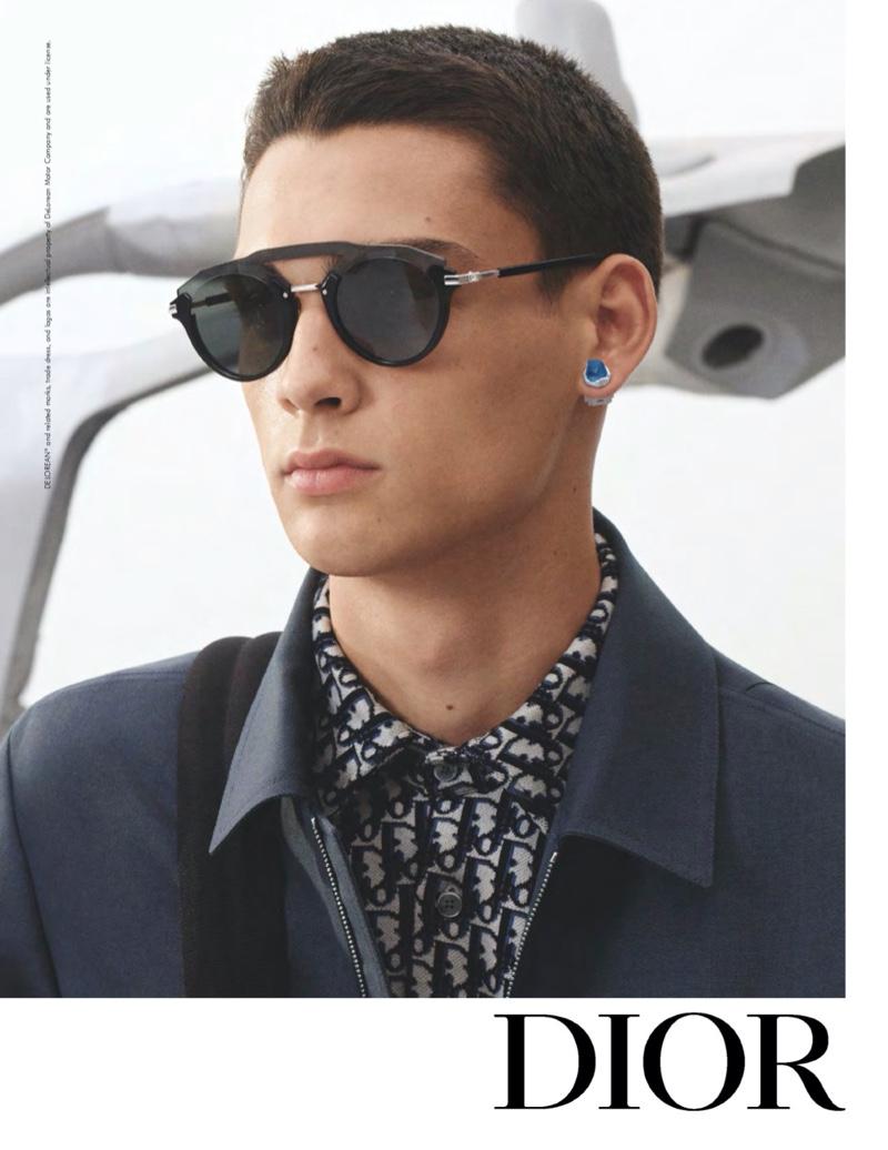 Ludwig Wilsdorff dons modern eyewear for Dior Men's spring-summer 2020 campaign.