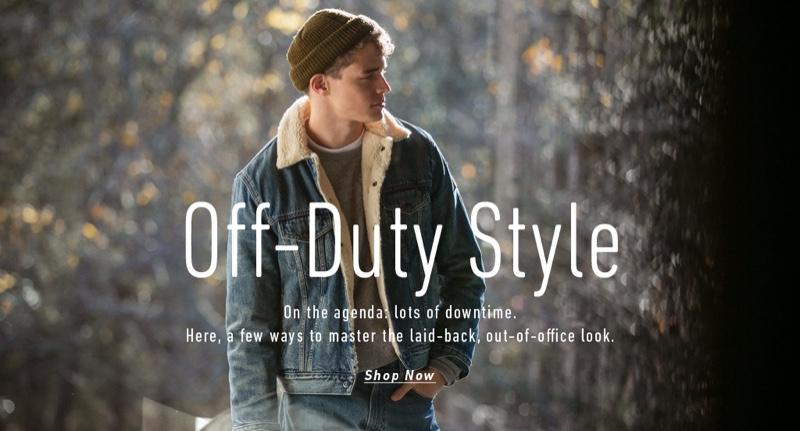 Jordy Baan sports a POLO Ralph Lauren sherpa collar denim trucker jacket and Varick slim-straight fit jeans. He also models a Vince tee, Mollusk sweatshirt, and Filson knit beanie.