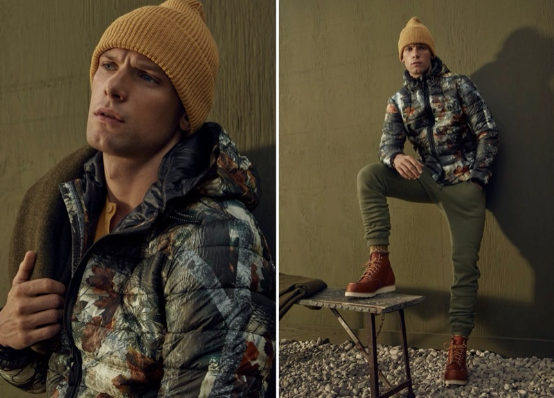 Ready for the outdoors, Elliott Reeder models a LE 31 recycled packable hooded puffer jacket.