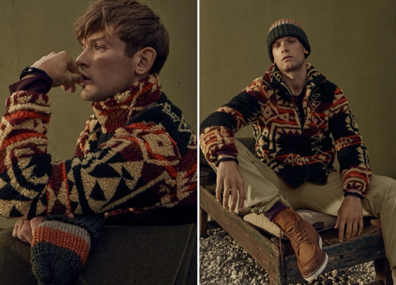 A cozy vision, Elliott Reeder dons a LE 31 nomad sherpa jacket.