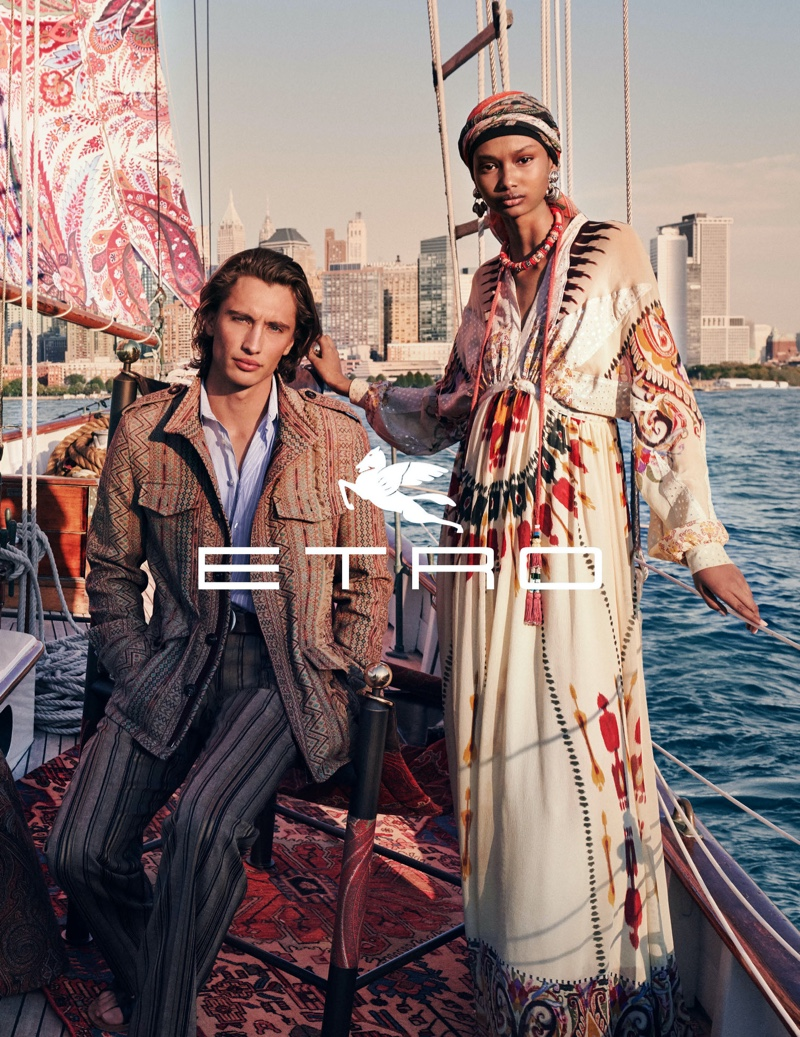 Models James Turlington  and Ugbad Abdi come together for Etro's spring-summer 2020 campaign.