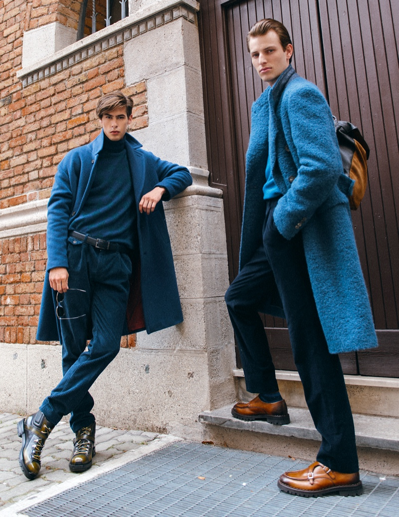 Left to Right: Oyvind wears turtleneck Marina Militare, sweater Cividini, pants Re-Hash, coat Hevo, belt Caporiccio, shoes Santoni, and sunglasses Maui Jim. Thomas wears all clothes Canali 1934, shoes and backpack Eleventy.