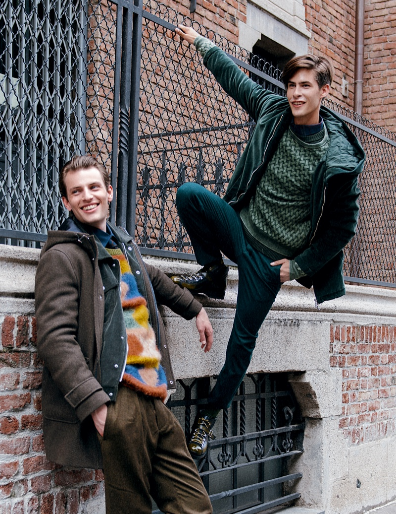 Left to Right: Thomas wears shirt Caporiccio, pants Massimo Alba, tie Canali 1934, sweater Pence 1979, shoes and velvet jacket Eleventy, and overcoat Siviglia. Oyvind wears shirt GANT, pants Re-Hash, dark green sweater Massimo Alba, light green sweater Ballentyne, jacket Massimo Alba, and shoes Eleventy.