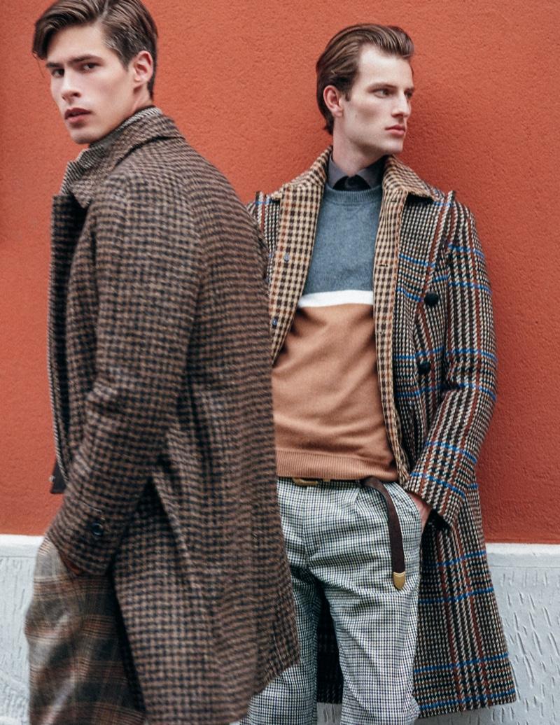 Left to Right: Oyvind wears shirt Caporiccio, sweater and pants Drumohr, jacket and coat Luigi Bianchi. Thomas wears shirt Corneliani, sweater and belt Eleventy, and coat Canali 1934.