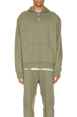 Fear of God Everyday Henley Hoodie in Green