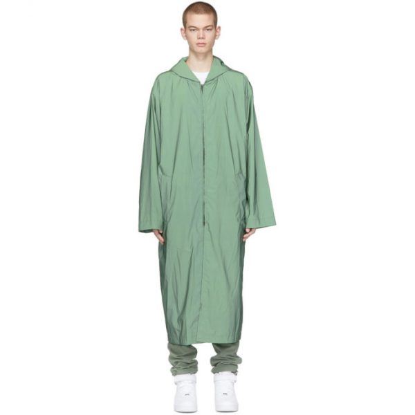 Fear of God Green Nylon Hooded Raincoat