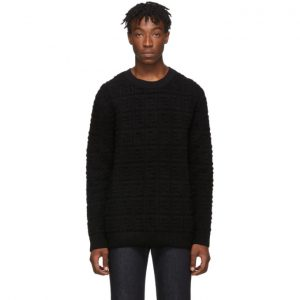 Fendi Black Embossed Wool Forever Fendi Sweater