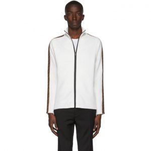 Fendi White Forever Fendi Zip-Up Sweater