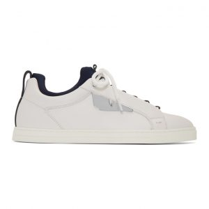 Fendi White and Navy Bag Bugs Sneakers
