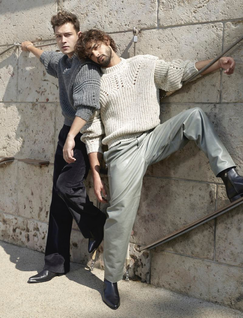Francisco Lachowski and Marlon Teixeira star in an editorial for L'Officiel Hommes Italia.