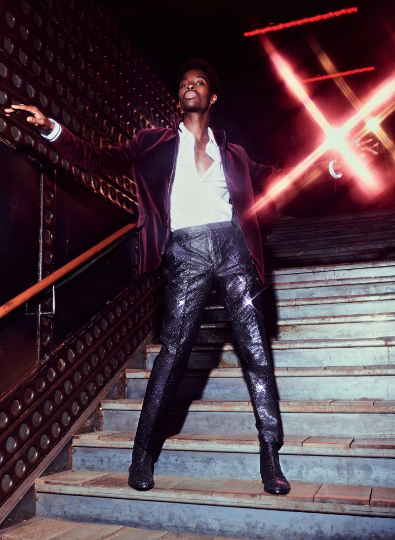 Alton Mason dons a velvet jacket and glittery pants for HUGO's holiday 2019 campaign.