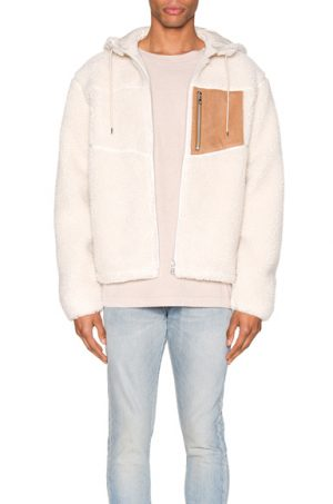 JOHN ELLIOTT Boulder Polar Fleece Zip Hoodie in Neutral