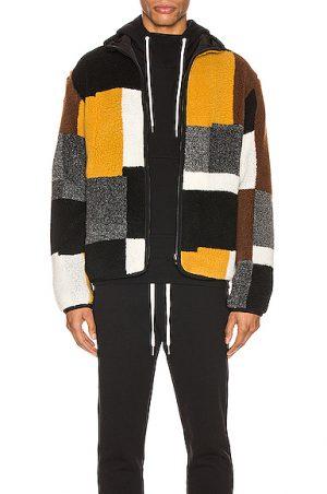 JOHN ELLIOTT Nashville Jacquard Reversible Full Zip Jacket in Brown,Gray,Black,Neutral