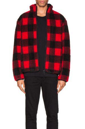 JOHN ELLIOTT Polar Fleece Zip Up in Black,Plaid,Red
