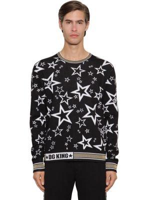 Jacquard Knit Virgin Wool Blend Sweater