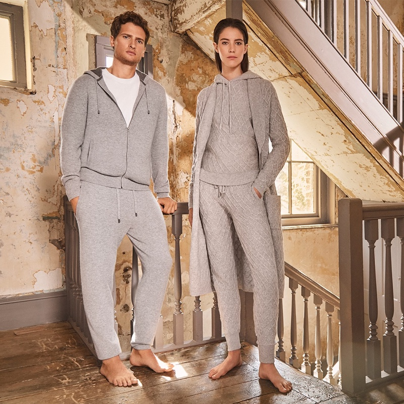 Embracing shades of grey, models Tom Warren and Carla Ciffoni appear in Jaeger's fall-winter 2019 campaign.