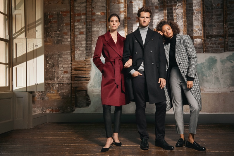 Front and center, Tom Warren joins Carla Ciffoni and Tamara Firth for Jaeger's fall-winter 2019 campaign.