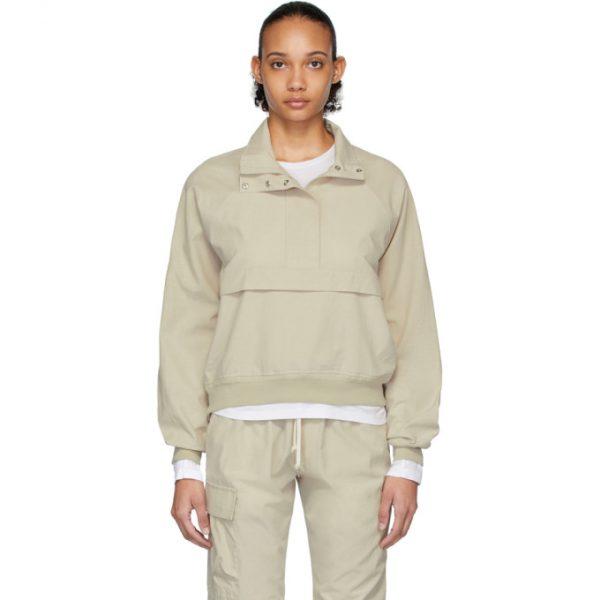 John Elliott Beige Cotton Sail Pullover Jacket
