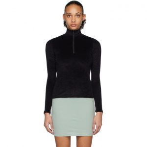John Elliott Black Velvet Half-Zip Sweater