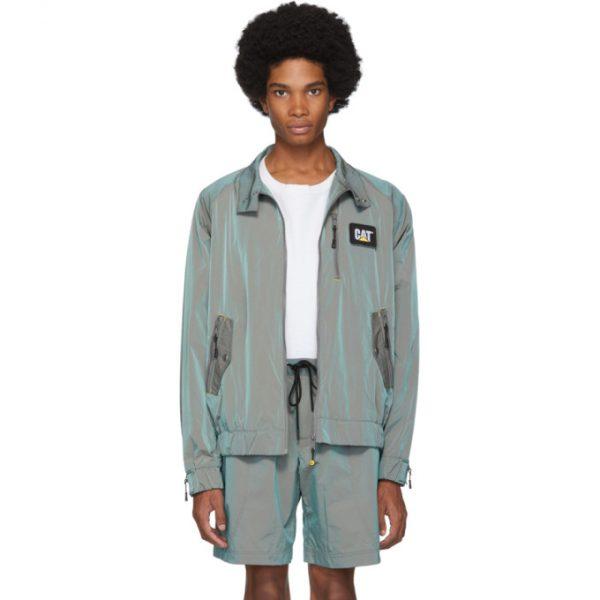 John Elliott Green CAT Edition Iridescent Nylon Harrington Jacket
