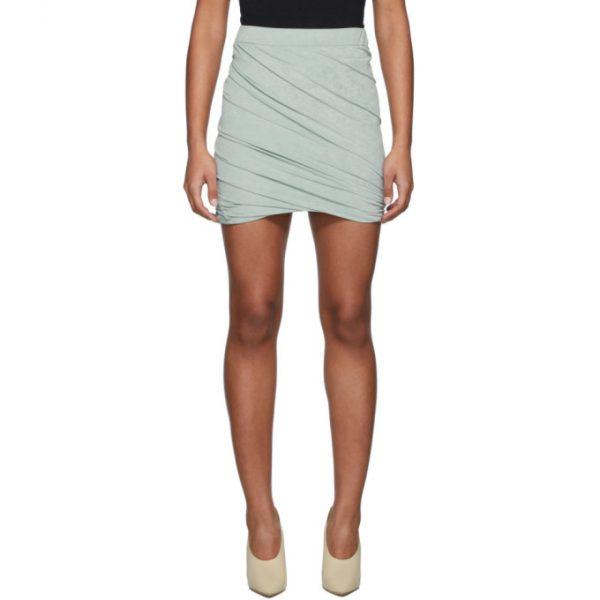 John Elliott Green Velvet Skirt