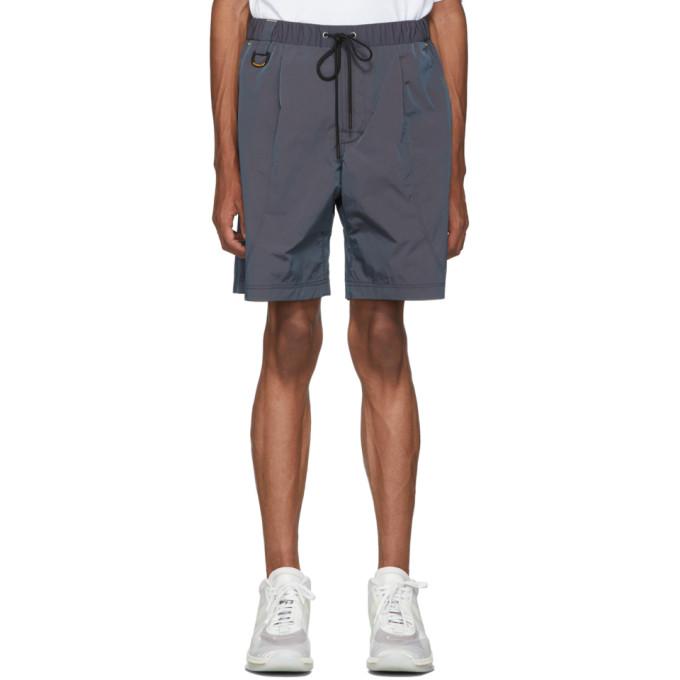 John Elliott Navy CAT Edition Iridescent Nylon Running Shorts