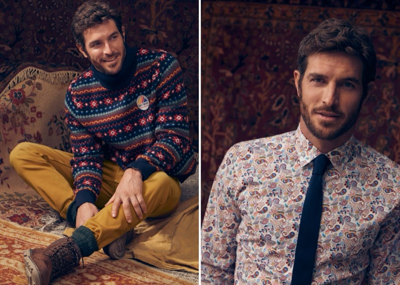 Embracing prints, Justice Joslin models a jacquard turtleneck sweater and paisley print shirt from LE 31.