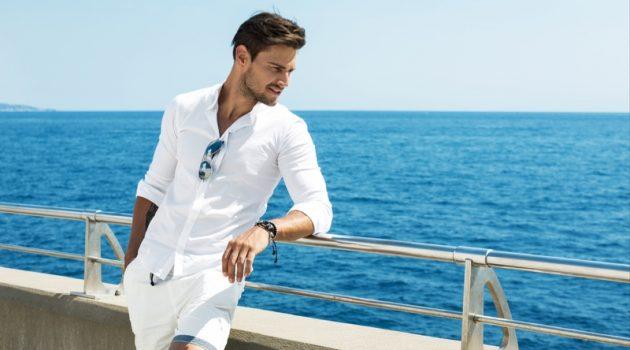 Man White Outfit Beach Sunglasses Shorts Shirt