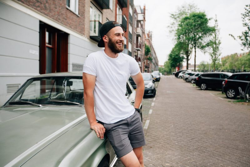 Man with Beard in T-Shirt Cap and Shorts