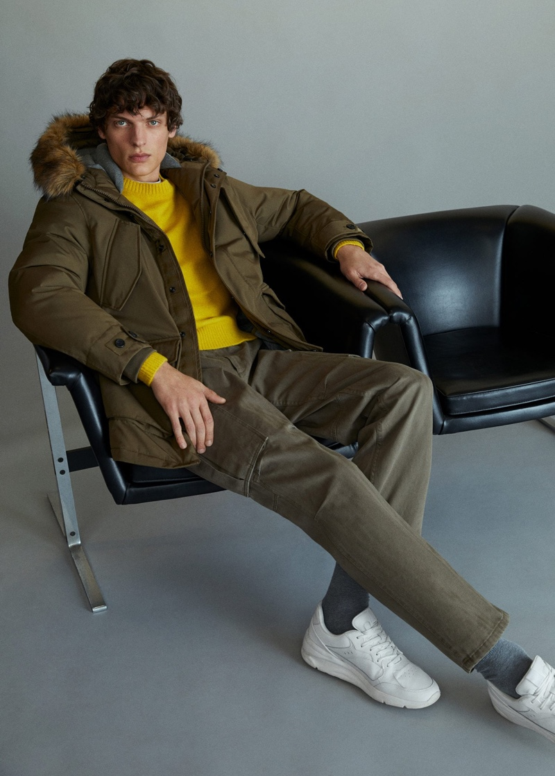 Model Valentin Caron sports a casual look from Mango.