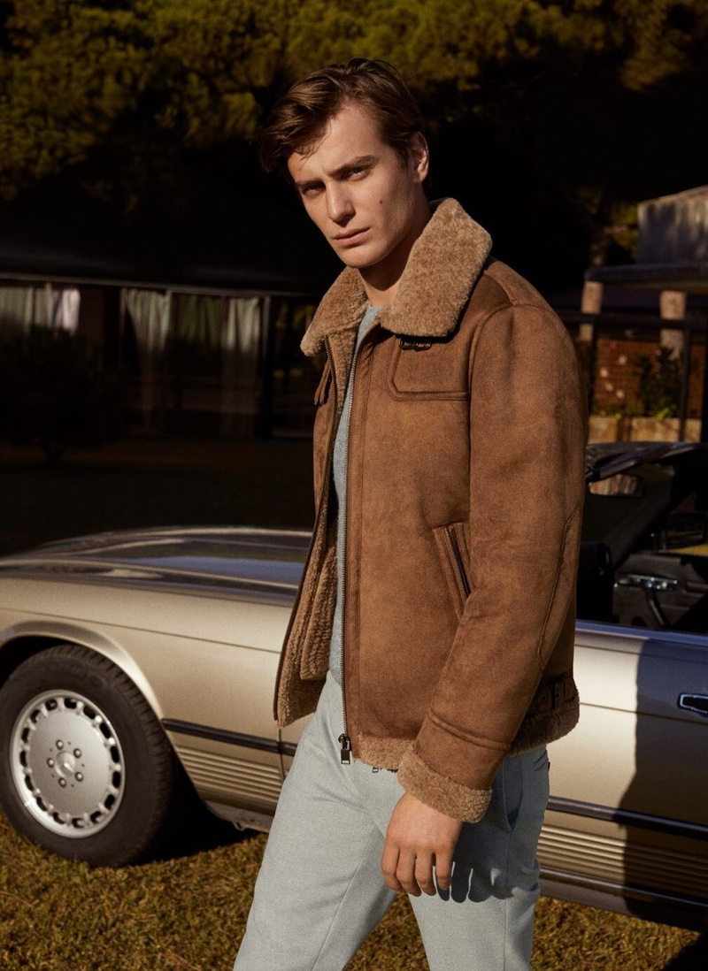 Stepping out in a shearling jacket, Ben Allen rocks a look from Mango.