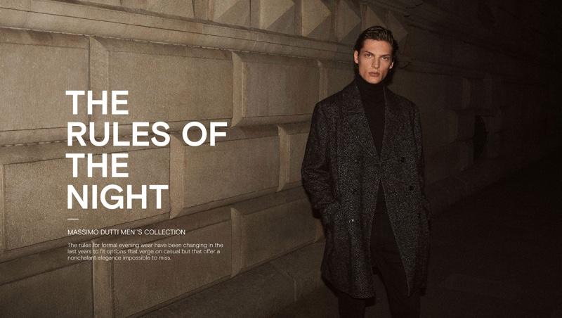 Model Valentin Caron stars in a Massimo Dutti menswear editorial.