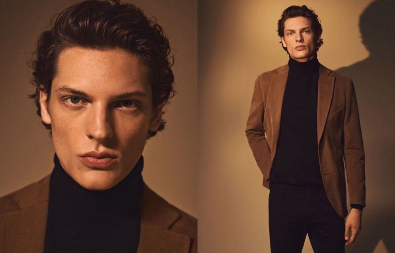 Making a case for brown and black, Valentin Caron sports Massimo Dutti.