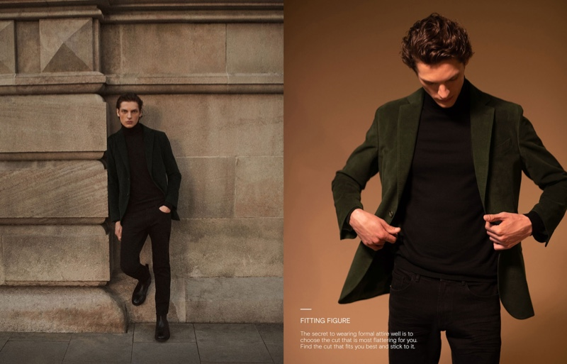 A sleek vision, Valentin Caron wears Massimo Dutti.
