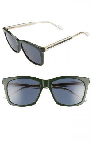 Men's Gucci 56Mm Square Sunglasses - Green