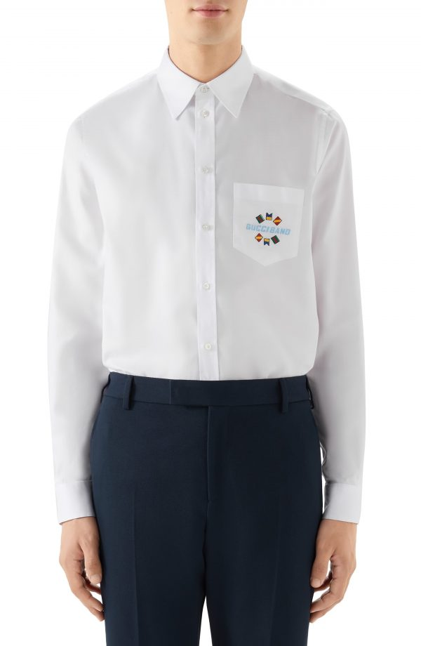 Men's Gucci Band Embroidered Cotton Button-Up Shirt, Size 15 - White