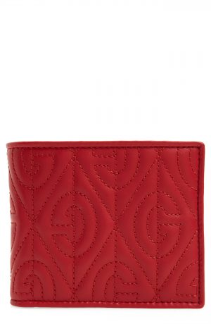 Men's Gucci G Rhombus Quilted Leather Bifold Wallet - Red