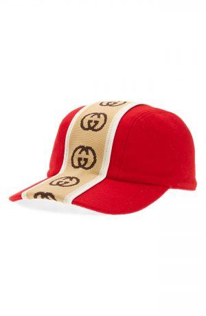Men's Gucci Gg Tape Cap - Red