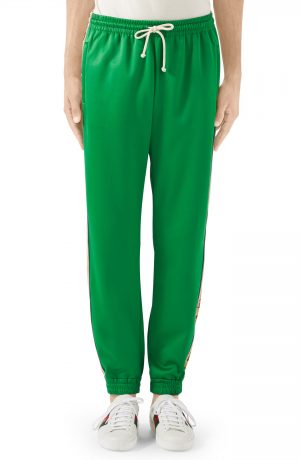 Men's Gucci Loose Technical Jersey Jogging Pants, Size Small - Green