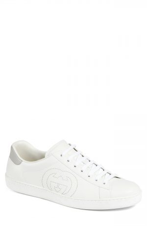 Men's Gucci New Ace Perforated Logo Sneaker, Size 7US / 6UK - White