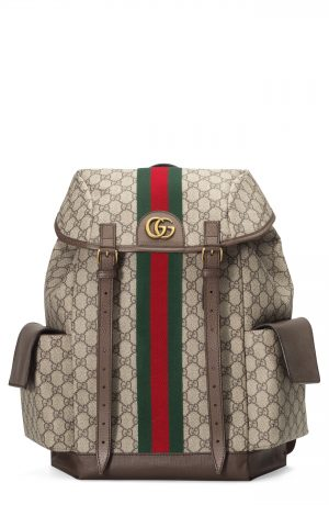 Men's Gucci Ophidia Medium Gg Supreme Canvas Backpack - Brown