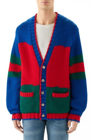 Men's Gucci Oversize Colorblock Wool Cardigan, Size Medium - Red