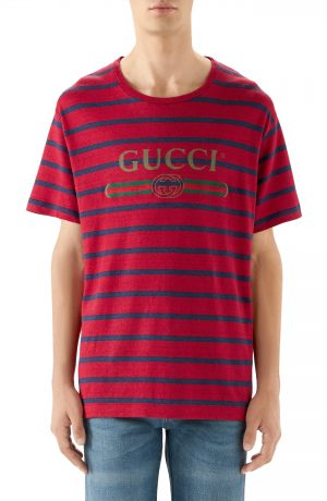 Men's Gucci Stripe Logo Oversize Linen & Cotton T-Shirt, Size X-Large - Red