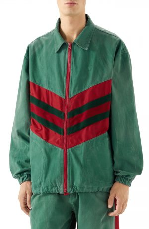 Men's Gucci Web Stripe Oversize Denim Jacket, Size 46 EU - Green