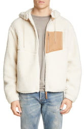 Men's John Elliott Boulder Polar Fleece Hooded Jacket, Size Large - Ivory